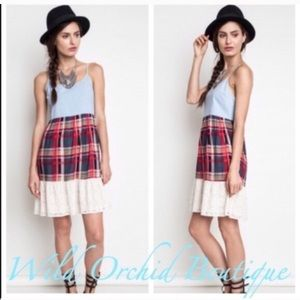•Closeout•Chambray Plaid Tier Dress